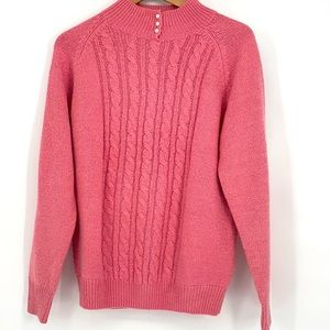 Karen Scott pink cable knit sweater pearl buttons